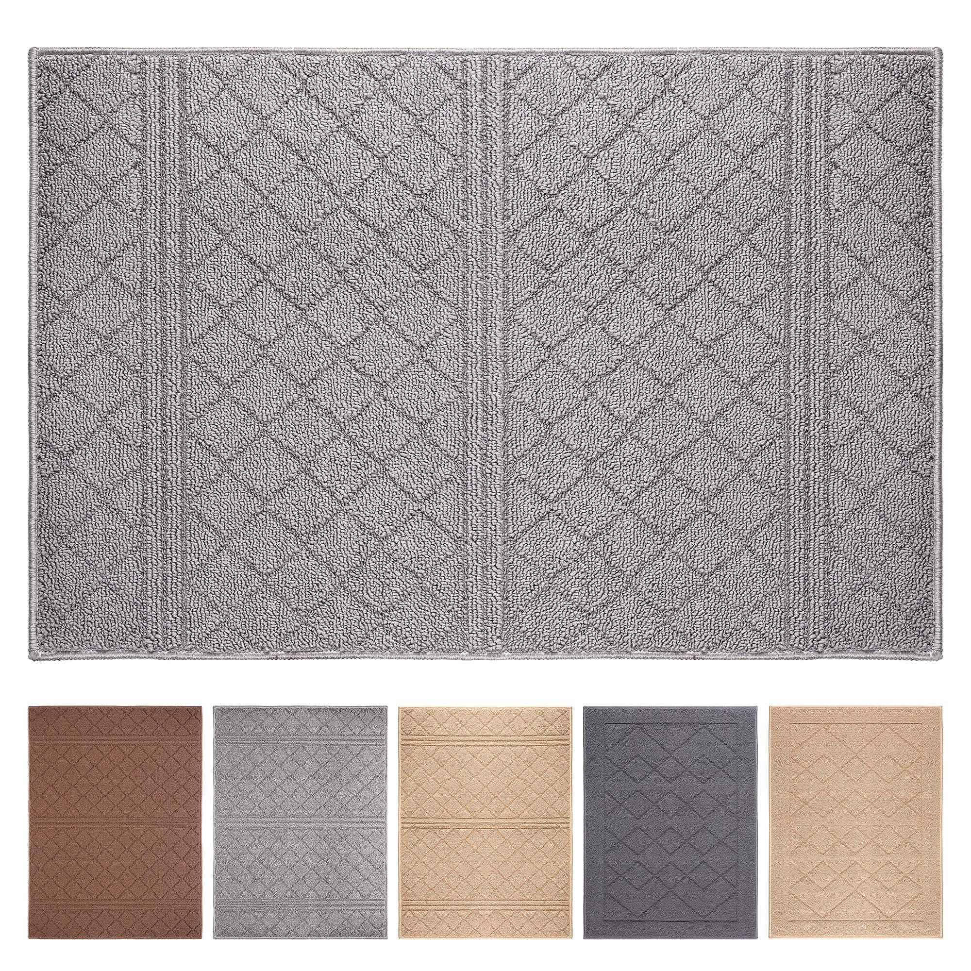 """Indoor Doormat 24""""x 36"""" Absorbent Front Door Mat Rubber Backing Non Slip Door Mats Inside Dirt Trapper Mats Entrance Front Door Rug Shoes Mat Machine Washable Carpet (Grey)"""