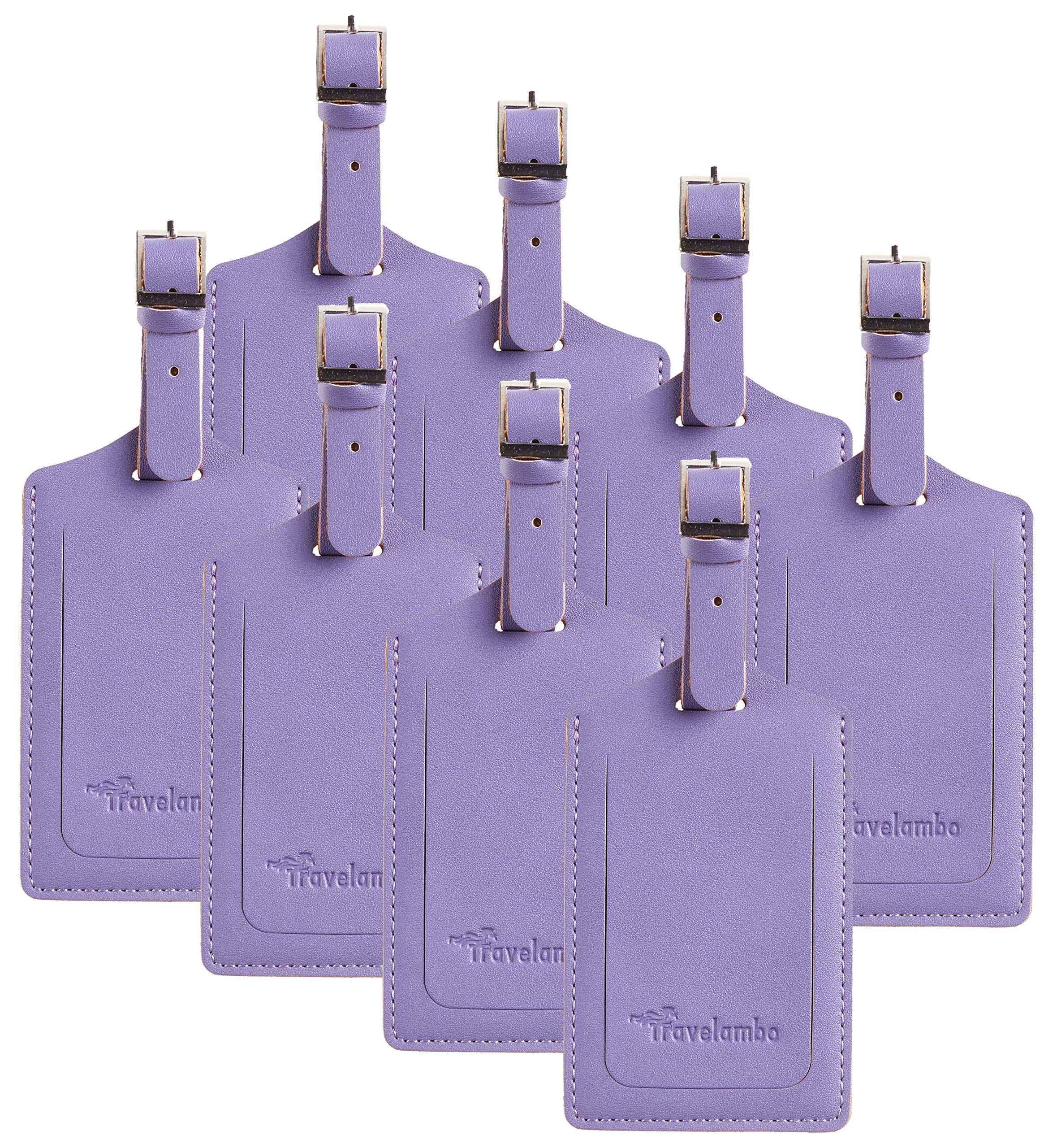 8 Pack Leather Luggage Travel Bag Tags by Travelambo Purple