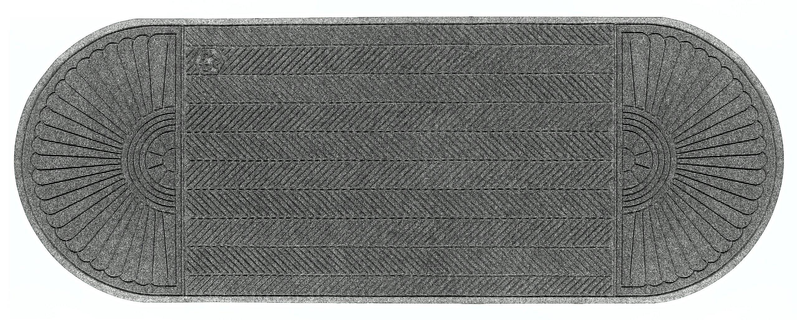 "M+A Matting 2244 Waterhog Eco Grand Elite PET Polyester Fiber Double Ends Entrance Indoor/Outdoor Floor Mat, SBR Rubber Backing, 10.1' Length x 6' Width, 3/8"" Thick, Grey Ash"