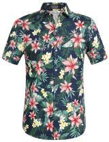 SSLR Men's Floral Cotton Button Down Short Sleeve Hawaiian Shirt
