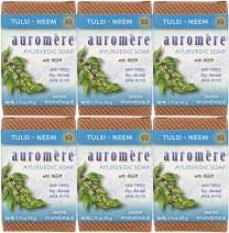 Auromere Ayurvedic Bar Soap, Tulsi Neem - Eco Friendly, Handmade, Vegan, Cruelty Free, Natural, Non GMO, 6 pack