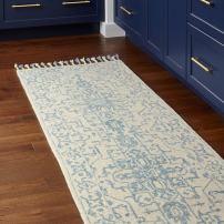 """Amazon Brand – Stone & Beam New England Tassled Wool Runner Rug, 2' 6"""" x 8', Blue and Cream"""