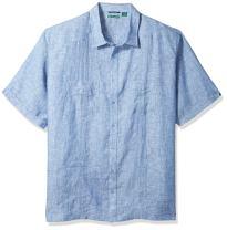 Cubavera Men's Short Sleeve 100% Linen Guayabera Shirt with Two Top Pockets