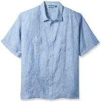 Cubavera Men's Big and Tall Short Sleeve 100% Linen Guayabera Shirt with Two Top Pockets