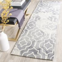 """Safavieh Dip Dye Collection DDY538C Handmade Geometric Moroccan Watercolor Grey and Ivory Wool Runner (2'3"""" x 8')"""