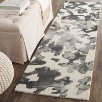 "Safavieh Dip Dye Collection DDY517E Handmade Modern Abstract Watercolor Beige and Charcoal Wool Runner (2'3"" x 6')"