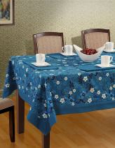 """Shalinindia Colorful Rectangular Patterned Cotton Tablecloth - 60"""" x 90"""" - Cover for 6-seat Table - Midnight Blue Blossom Floral"""