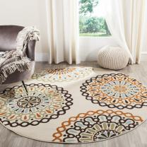 """Safavieh Veranda Collection VER092-0715 Indoor/ Outdoor Cream and Terracotta Round Contemporary Area Rug (6'7"""" Diameter)"""