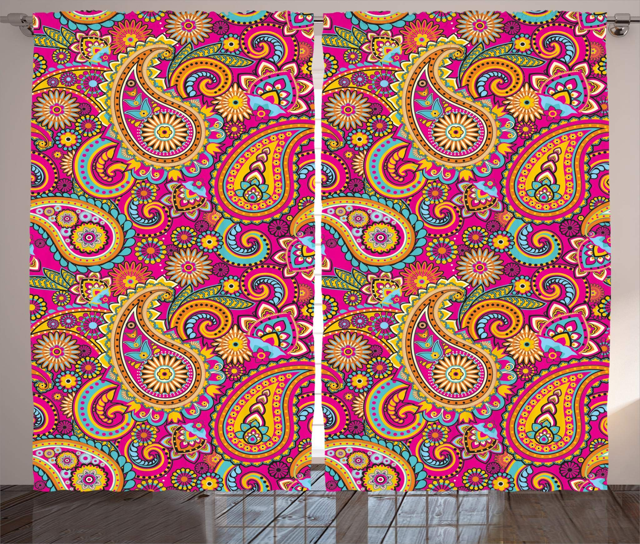 """Ambesonne Paisley Curtains, Paisley Patterns Based on Traditional Eastern Pastel Design, Living Room Bedroom Window Drapes 2 Panel Set, 108"""" X 90"""", Pale Magenta"""