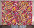 "Ambesonne Paisley Curtains, Paisley Patterns Based on Traditional Eastern Pastel Design, Living Room Bedroom Window Drapes 2 Panel Set, 108"" X 84"", Pale Magenta"