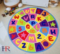 Alphabet and Numbers Kids/Boys/Girls/Children/Toddler Educational Play mat for School/Daycare/Nursery Non-Slip Area Rug (Multi)