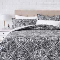 Amazonbasics 300TC 100% Cotton Comforter Set, Reversible 3-piece, Super Soft -  Full/Queen, Gray Watercolor Diamond