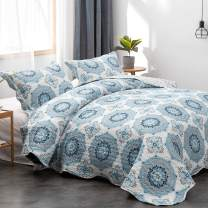 Mohap Quilt Set 3 Piece Lightweight Bedspread Queen Size for All Season Soft and Breathable Bedspread 1 Quilt and 2 Matching Shams Bohemian Style Geometric Pattern