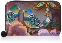 Anuschka Women's Genuine Leather Twin Zip Organizer Wallet   Holds up to 18 Cards   Hand Painted Original Artwork