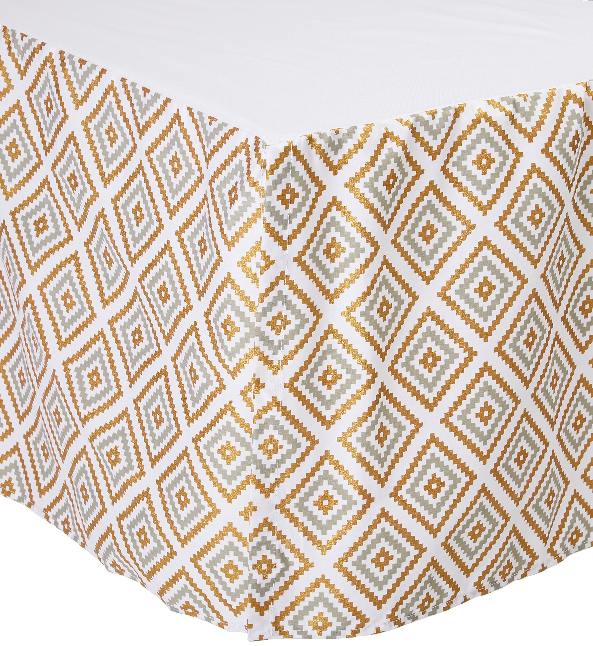 American Baby Company 100% Cotton Tailored Crib Skirt with Pleat, Sparkle Gold/Grey Kilim, for Boys and Girls