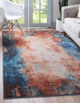 Unique Loom Mystic Collection Over-Dyed Abstract Vintage Dark Colors Brick Red Area Rug (9' 0 x 12' 0)
