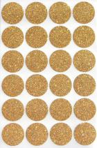 Royal Green Gold Invitation Seal Dots 1 Round 25 mm - Dot Glitter Stickers - one inch Rounds Sparkly Sticker - 120 Pack