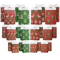 24 Pack Variety Bulk Set - Small, Medium & Large Size Christmas Gift Bags with White Tissue Paper - Nordic Christmas Sweater Designs