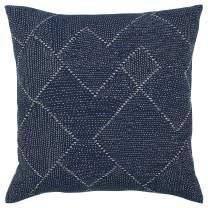"Stone & Beam Transitional Woven Diamond Decorative Throw Pillow, 20"" x 20"", Indigo"
