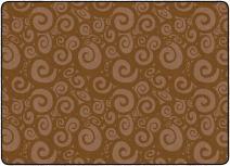 "Flagship Carpets FE393-32A Swirl Tone on Tone Chocolate, Children's Classroom Rug, 6'x8'4"", Rectangle"