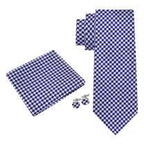 Twenty Dollar Tie Men's Houndstooth Silk Tie Pocket Square and Cuff-links