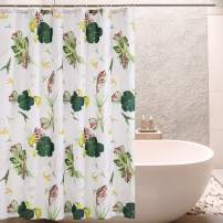 SyMax Printed Shower Curtain Fabric Waterproof Unique Curtains for Bathroom (W72xL72, Beard Leaves)