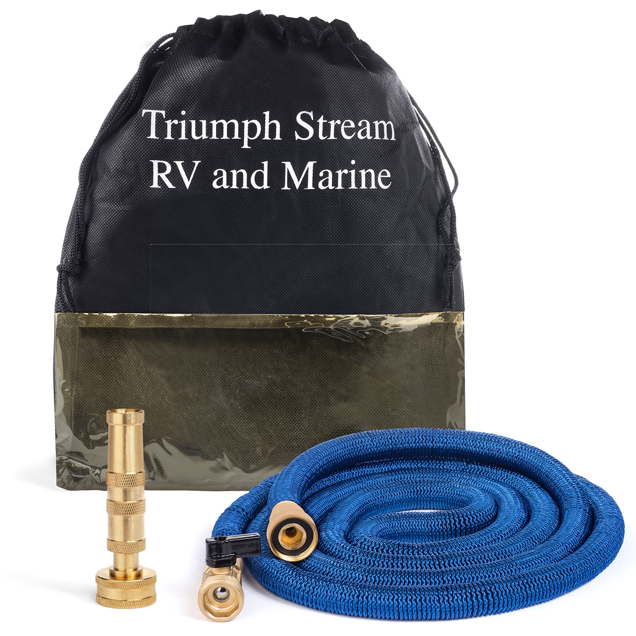 Marine Boat 5th Wheel and RV Water Hose | Expands 8 to 25 ft | Frustration Free! - No Kinks, Coiling or Scuffs | Perfect Washdown Hose, Super Space Saver w/Storage Bag | Leak Free Guarantee