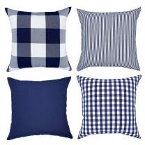 YOUR SMILE Farmhouse Throw Pillow Covers 18x18 Inch Set of 4, Throw Cushion Case Holiday Decor Cotton Canvas for Sofa(Pure Color, Checkers Plaid, Stripe, Lattice) (18'' x 18'', Blue)