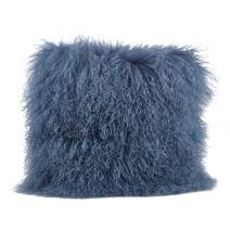 "SARO LIFESTYLE 100% Wool Mongolian Lamb Fur Throw Pillow with Poly Filling, 16"" x 16"", Blue/Grey"