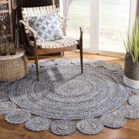 Safavieh Cape Cod Collection CAP211L Hand-Woven Area Rug, 3' x 3' Round, Blue/Natural