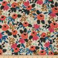 Cotton + Steel Natural Rifle Paper Co. Les Fleurs Canvas Rosa Floral Fabric by The Yard