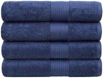 "Bliss Luxury Bath Towels Set - 34"" x 56"" Extra Large Premium Quality Bath Sheet - 650 GSM - Soft Combed Cotton, Absorbent (Denim, 4 Pack)"