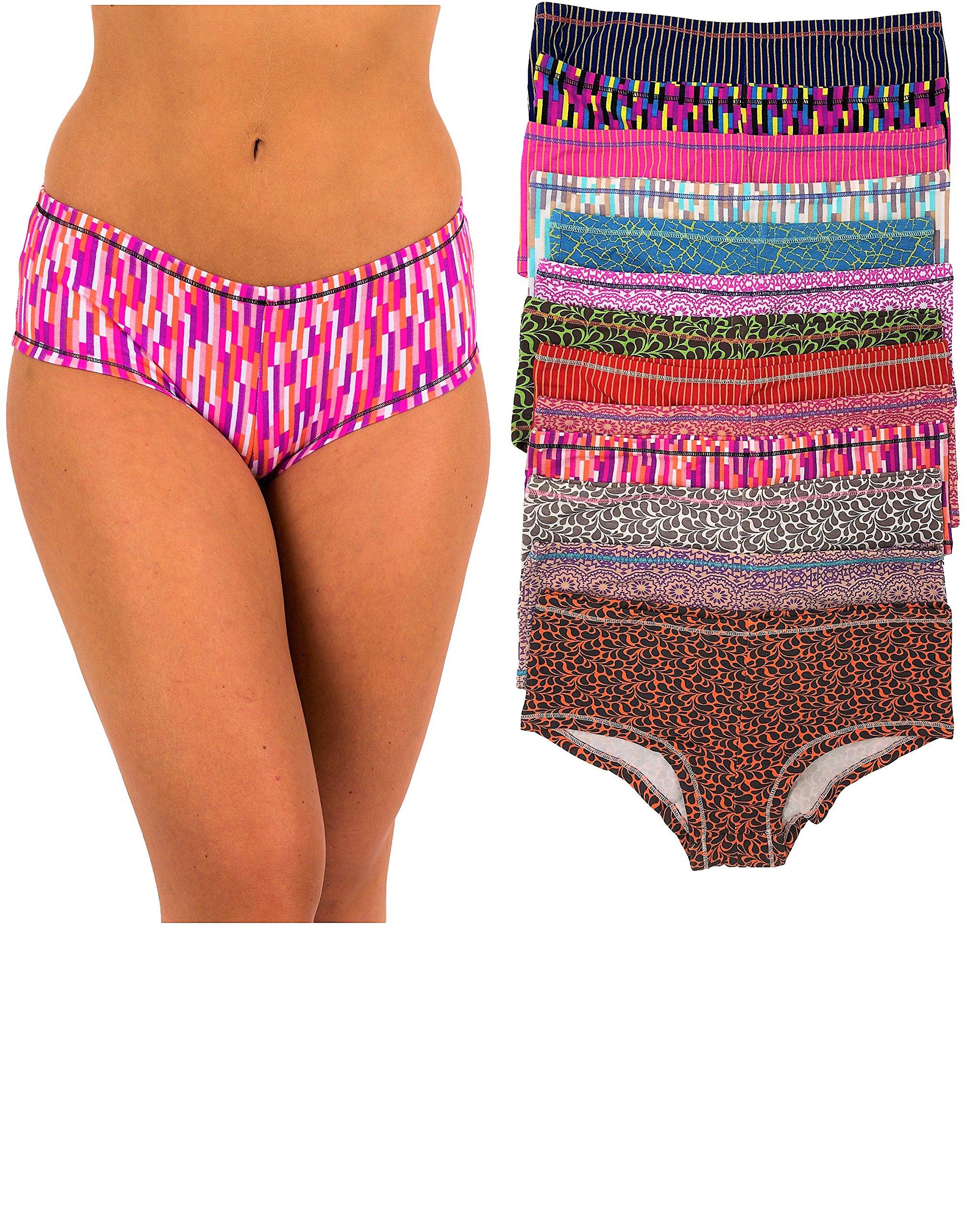 Sexy Basics Women's 12 Pack Cotton Spandex Active Wear Boy Shorts Panty Briefs