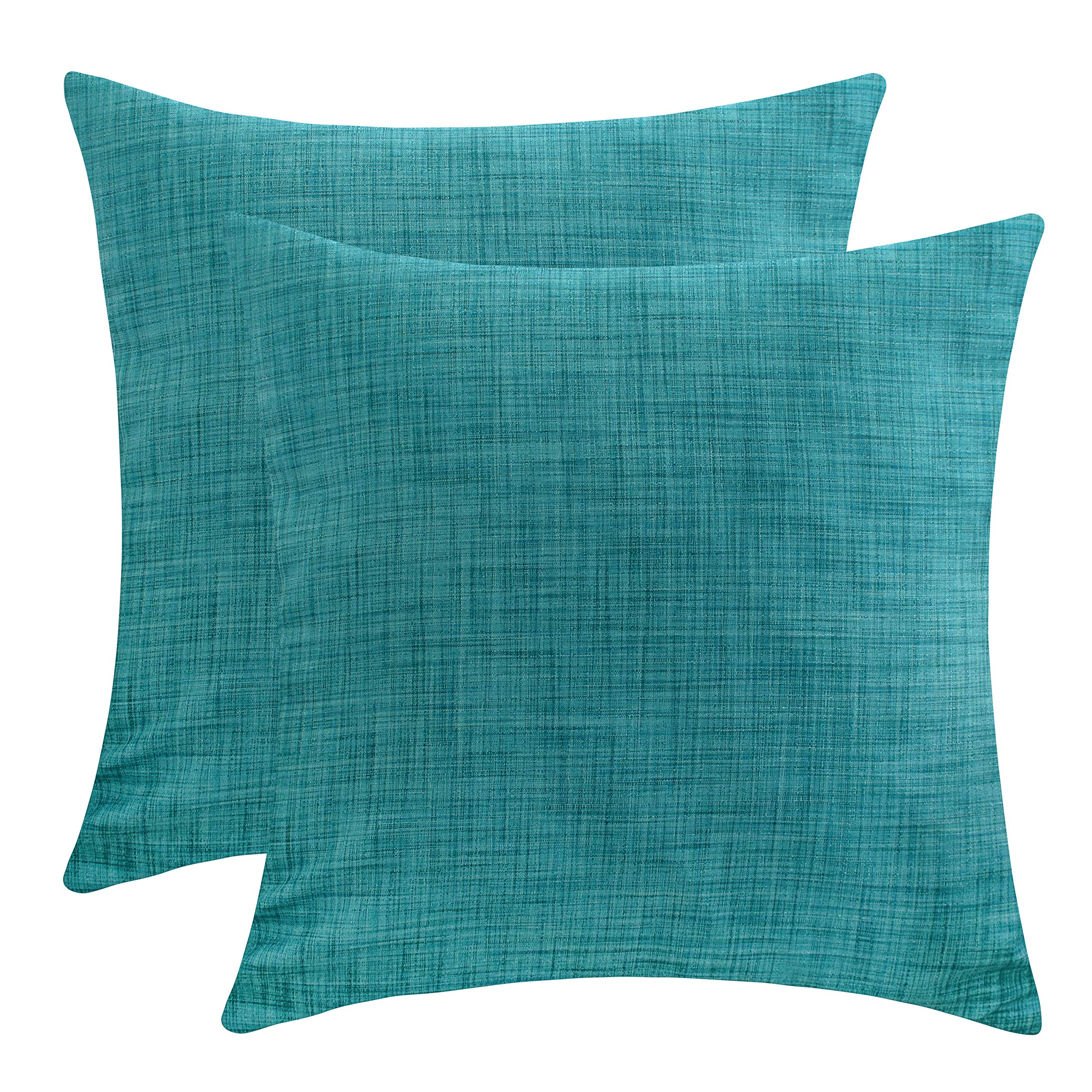 The White Petals Teal Throw Pillow Cover - (16x16 inch) | Decorative, Washable Cushion Covers for Couch, Sofa, Bedroom, Living Room - Pack of 2