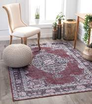 "Well Woven Mareva Machine Washable Burgundy Red Vintage Oriental Medallion Area Rug 3x5 (3'9"" x 5'7"")"
