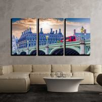 """wall26 - 3 Piece Canvas Wall Art - Red doubledecker Bus on Westminster Bridge. - Modern Home Art Stretched and Framed Ready to Hang - 24""""x36""""x3 Panels"""