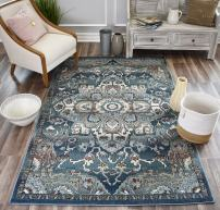 Rugs America Sela Transitional Gold Area Rug, 9'x12' , Blue