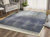 Southwestern Distressed Vintage Style Area Rug, Mesa Collection - Blue & Beige Plant Stalk Design 4' x 6' Accent Rug by Abani Rugs