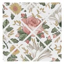 Sweet Jojo Designs Vintage Floral Boho Fabric Memory Memo Photo Bulletin Board - Blush Pink, Yellow, Green and White Shabby Chic Rose Flower Farmhouse