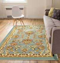 "Well Woven Non-Skid/Slip Rubber Back Antibacterial 8x10 (7'10"" x 9'10"") Area Rug Timeless Oriental Blue Traditional Classic Sarouk Thin Low Pile Machine Washable Indoor Outdoor Kitchen Hallway Entry"