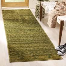 "Safavieh Adirondack Collection ADR107D Green and Dark Green Rustic Bohemian Runner (2'6"" x 14')"
