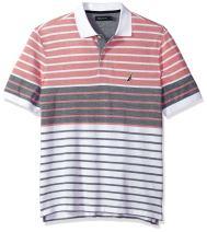 Nautica Men's Short Sleeve Colorblock Cotton Oxford Pique Polo Shirt