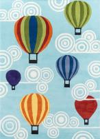 Momeni Rugs Lil' Mo Whimsy Collection, Kids Themed Hand Carved & Tufted Area Rug, 3' x 5', Multicolor Hot Air Balloons on Sky Blue