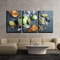 """wall26 - 3 Piece Canvas Wall Art - Green Refreshing Lime Pistachio Ice Cream in White Bowl Overhead Shot - Modern Home Decor Stretched and Framed Ready to Hang - 16""""x24""""x3 Panels"""