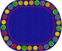 """Flagship Carpets Sitting Spots Seating Area Rug for Children's Classroom or Kids Playroom, Seats 30, 10'6""""x13'2"""", Oval, Blue"""