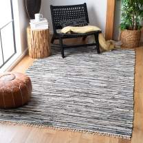 Safavieh Rag Rug Collection RAR129Q Hand-Woven Black and Multi Flatweave Cotton Area Rug (10' x 14')