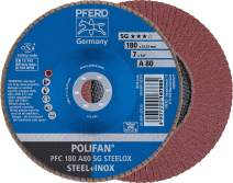 "PFERD Polifan SG Abrasive Flap Disc, Type 29, Round Hole, Phenolic Resin Backing, Aluminum Oxide, 7"" Dia., 80 Grit (Pack of 1)"