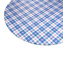 """Round Vinyl Table Cover, Flannel Backed with Fitted Elastic Edge - Fits Tables 45"""" - 56"""" Diameter - Pink and Blue Plaid Checkered Tablecloth"""