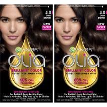 Garnier Olia Ammonia-Free Brilliant Color Oil-Rich Permanent Hair Color, 4.0 Dark Brown (Pack of 2) Brown Hair Dye