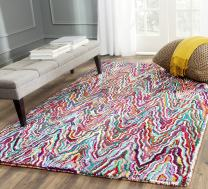 Safavieh Nantucket Collection NAN312A Handmade Abstract Chevron Multicolored Cotton Area Rug (3' x 5')